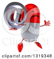 Clipart Of A 3d Unhappy Red And White Pill Character Facing Right Jumping And Holding An Email Arobase At Symbol Royalty Free Illustration