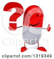 Clipart Of A 3d Happy Red And White Pill Character Giving A Thumb Up And Holding A Question Mark Royalty Free Illustration