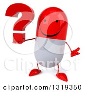 Clipart Of A 3d Happy Red And White Pill Character Shrugging And Holding A Question Mark Royalty Free Illustration