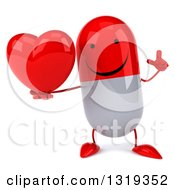 Clipart Of A 3d Happy Red And White Pill Character Holding Up A Finger And A Heart Royalty Free Illustration