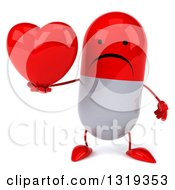 Clipart Of A 3d Unhappy Red And White Pill Character Holding A Heart Royalty Free Illustration