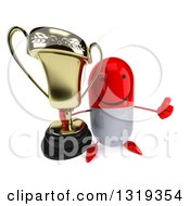Clipart Of A 3d Happy Red And White Pill Character Holding Up A Thumb And A Trophy Royalty Free Illustration