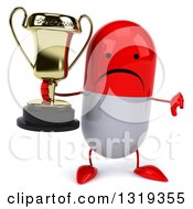 Clipart Of A 3d Unhappy Red And White Pill Character Giving A Thumb Down And Holding A Trophy Royalty Free Illustration