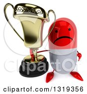 Clipart Of A 3d Unhappy Red And White Pill Character Holding Up A Trophy Royalty Free Illustration