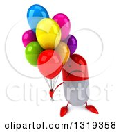 Clipart Of A 3d Unhappy Red And White Pill Character Holding Up Party Balloons Royalty Free Illustration