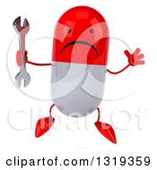 Clipart Of A 3d Unhappy Red And White Pill Character Holding A Wrench And Jumping Royalty Free Illustration