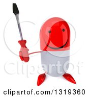 Clipart Of A 3d Happy Red And White Pill Character Holding Up A Screwdriver Royalty Free Illustration