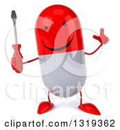 Clipart Of A 3d Happy Red And White Pill Character Holding Up A Finger And A Screwdriver Royalty Free Illustration