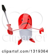 Clipart Of A 3d Unhappy Red And White Pill Character Holding Up A Thumb Down And A Screwdriver Royalty Free Illustration