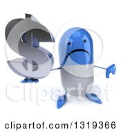 Clipart Of A 3d Unhappy Blue And White Pill Character Holding Up A Thumb Down And A Dollar Symbol Royalty Free Illustration