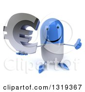 Clipart Of A 3d Happy Blue And White Pill Character Holding Up A Thumb And A Euro Symbol Royalty Free Illustration