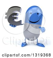 Clipart Of A 3d Happy Blue And White Pill Character Holding And Pointing To A Euro Symbol Royalty Free Illustration