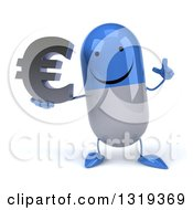 Clipart Of A 3d Happy Blue And White Pill Character Holding Up A Finger And A Euro Symbol Royalty Free Illustration