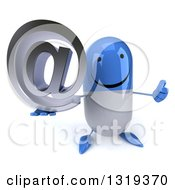 Clipart Of A 3d Happy Blue And White Pill Character Holding Up A Thumb And An Email Arobase At Symbol Royalty Free Illustration