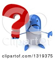 Clipart Of A 3d Unhappy Blue And White Pill Character Holding Up A Thumb Down And Question Mark Royalty Free Illustration