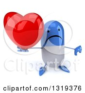 Clipart Of A 3d Happy Blue And White Pill Character Holding Up A Thumb Down And A Heart Royalty Free Illustration