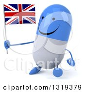Clipart Of A 3d Happy Blue And White Pill Character Walking Slightly Left And Holding A British Union Jack Flag Royalty Free Illustration