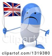Clipart Of A 3d Unhappy Blue And White Pill Character Giving A Thumb Down And Holding A British Union Jack Flag Royalty Free Illustration