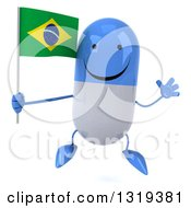 Clipart Of A 3d Happy Blue And White Pill Character Jumping And Holding A Brazilian Flag Royalty Free Illustration