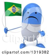 Clipart Of A 3d Unhappy Blue And White Pill Character Holding And Pointing To A Brazilian Flag Royalty Free Illustration