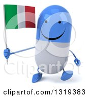 Clipart Of A 3d Happy Blue And White Pill Character Walking And Holding An Italian Flag Royalty Free Illustration