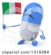Clipart Of A 3d Unhappy Blue And White Pill Character Walking Slightly Left And Holding An Italian Flag Royalty Free Illustration