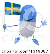 Clipart Of A 3d Happy Blue And White Pill Character Jumping And Holding A Swedish Flag Royalty Free Illustration