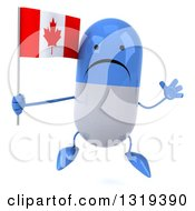 Clipart Of A 3d Unhappy Blue And White Pill Character Jumping And Holding A Canadian Flag Royalty Free Illustration