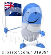 Clipart Of A 3d Happy Blue And White Pill Character Holding And Pointing To An Australian Flag Royalty Free Illustration