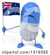 Clipart Of A 3d Unhappy Blue And White Pill Character Holding An Australian Flag Royalty Free Illustration