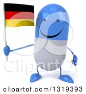 Clipart Of A 3d Happy Blue And White Pill Character Holding A German Flag Royalty Free Illustration