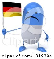 Clipart Of A 3d Unhappy Blue And White Pill Character Holding A German Flag Royalty Free Illustration