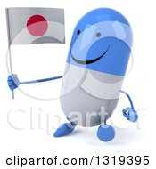 Clipart Of A 3d Happy Blue And White Pill Character Walking Slightly Left And Holding A Japanese Flag Royalty Free Illustration