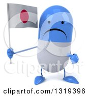 Clipart Of A 3d Unhappy Blue And White Pill Character Holding And Pointing To A Japanese Flag Royalty Free Illustration