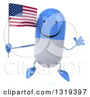 Clipart Of A 3d Happy Blue And White Pill Character Jumping And Holding An American Flag Royalty Free Illustration
