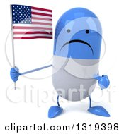 Clipart Of A 3d Unhappy Blue And White Pill Character Holding And Pointing To An American Flag Royalty Free Illustration