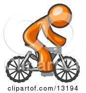 Orange Man Riding A Bicycle Clipart Illustration