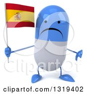 Clipart Of A 3d Unhappy Blue And White Pill Character Giving A Thumb Down And Holding A Spanish Flag Royalty Free Illustration