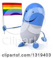 Clipart Of A 3d Happy Blue And White Pill Character Walking Slightly Left And Holding A Rainbow Flag Royalty Free Illustration