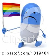 Clipart Of A 3d Unhappy Blue And White Pill Character Walking And Holding A Rainbow Flag Royalty Free Illustration