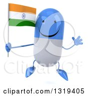 Clipart Of A 3d Happy Blue And White Pill Character Jumping And Holding An Indian Flag Royalty Free Illustration