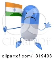 Clipart Of A 3d Unhappy Blue And White Pill Character Jumping And Holding An Indian Flag Royalty Free Illustration