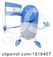 Clipart Of A 3d Happy Blue And White Pill Character Jumping And Holding An Argentine Flag Royalty Free Illustration
