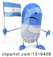 Clipart Of A 3d Unhappy Blue And White Pill Character Giving A Thumb Down And Holding An Argentine Flag Royalty Free Illustration
