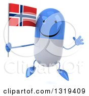 Clipart Of A 3d Happy Blue And White Pill Character Jumping And Holding A Norwegian Flag Royalty Free Illustration