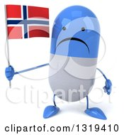 Clipart Of A 3d Unhappy Blue And White Pill Character Holding A Norwegian Flag Royalty Free Illustration