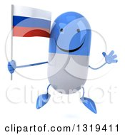 Clipart Of A 3d Happy Blue And White Pill Character Jumping And Holding A Russian Flag Royalty Free Illustration