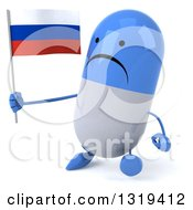 Clipart Of A 3d Unhappy Blue And White Pill Character Walking Slightly Left And Holding A Russian Flag Royalty Free Illustration