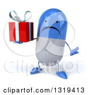 Clipart Of A 3d Unhappy Blue And White Pill Character Shrugging And Holding A Gift Royalty Free Illustration