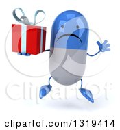 Clipart Of A 3d Unhappy Blue And White Pill Character Jumping And Holding A Gift Royalty Free Illustration